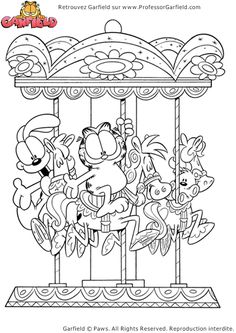 Coloriage de Garfield qui s'amuse avec son ami Odie sur un manège