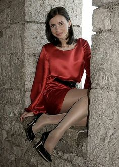 Satin 6 (3) | gberkenbusch | Flickr Satin Gown, Satin Dresses, Sexy Dresses, Satin Skirt, Blouse Dress, Dress Skirt, Pantyhose Legs, Nylons, Pantyhose Fashion