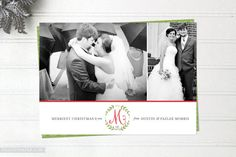 Newlywed Christmas Cards - Merry Monogram - Multi Photo Holiday Cards - Double Sided First Married Christmas Cards - FREE SHIPPING
