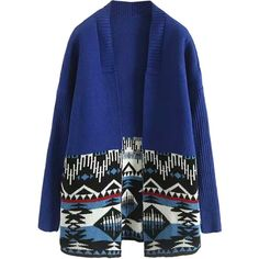 Blue Contrast Tribe Pattern Long Sleeve Open Front Knit Cardigan (3305 RSD) ❤ liked on Polyvore featuring tops, cardigans, blue cardigan, long sleeve tops, tribal print cardigan, open front cardigan and long sleeve knit cardigan