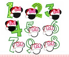 Christmas Numbers 1-9,Mouse head with Birthday Numbers 1-9, Minnie Embroidery Design,Minnie Applique Design -for 4x4 5x7 6x10 hoop by CherryStitchDesign on Etsy