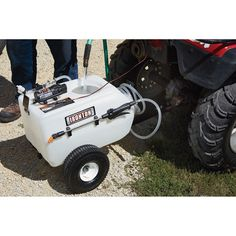 Tow the versatile Ironton® Tow-Behind Broadcast and Spot Sprayer behind your ATV or garden tractor to spray weeds, fence lines and the tops of 12-foot trees.