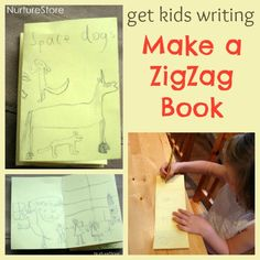 A great way to get #kids #writing : make a zigzag book! (Great for reluctant writers and kids who love to draw)