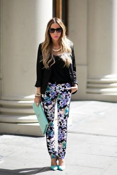 work outfit floral pants