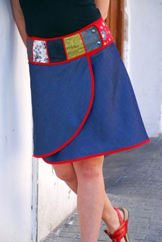 "Sarong jupe ""Selene"" (jean & biais rouge)"