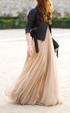 #dress #maxi #long #cream #pink #flowy #chiffon #layered #jacket #leather #black
