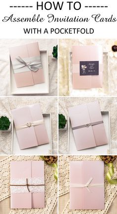 How to assemble your wedding invitation cards together with a pink blush pocketfold