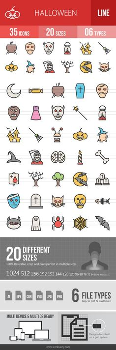 35 Halloween Line Filled Icons. Human Icons. $9.00