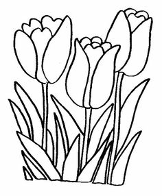 tulips coloring page 22 is a coloring page from flowerslet your children express their - Flower Coloring Page