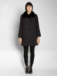 opening ceremony flannel neck flare coat