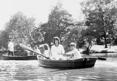 Family photos of John F Kennedy, Jackie Kennedy, JFK Jr., and the rest of the Kennedy family on boats