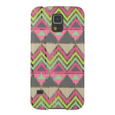 Faux wood background modern tribal geometric hipster studs Andes pattern Aztec triangle arrow print Samsung Galaxy S5 case