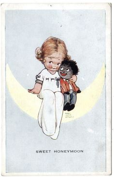 Mabel Lucie Attwell card, via http://www.ebay.co.uk/itm/Early-MABEL-LUCIE-ATTWELL-Sweet-Honeymoon-Golliwog-Postcard-/161091825997?pt=UK_Collectables_Postcards_MJ&hash=item2581d2314d