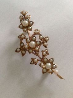 Superb Quality Vintage 9ct Gold & Seed Pearl Set Floral Spray Brooch