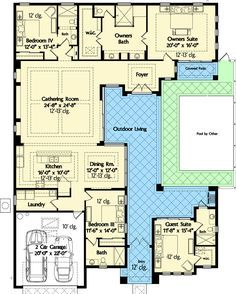 Plan 33161zr Net Zero Ready House Plan With L Shaped Lanai Architecture Floor Plans