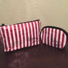 Victoria's Secret cosmetic bags Cute candy case inspired cosmetic bags. The red stripes on the cosmetic bags are also sparkly. I will also throw in the candy cane looking underwear as well. The underwear are thong style. Comes with gift bag and tissue. Victoria's Secret Bags Cosmetic Bags & Cases