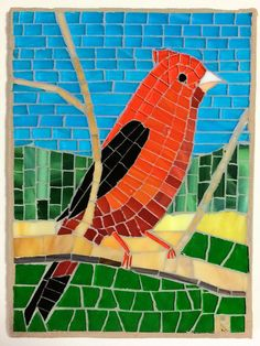 Cardinal stained glass mosaic green pasture blue sky by LachanceGlassMosaic on Etsy