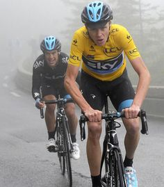 A great shot of @chris froome and @richie_porte powering through the gloom - via TeamSky Twitter