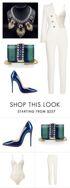 "Peacock ""Godly "" by styleswavington ❤ liked on Polyvore featuring Christian Louboutin, GEDEBE, La Perla, Roland Mouret, Balmain, women's clothing, women's fashion, women, female and woman"