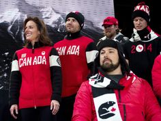 Curler Cheryl Bernard, left, and skier Jan Hudec, second left, and other athletes wear the new Canadian Olympic and Paralympic team uniforms Olympic Committee, Olympic Team, Winter Olympics 2014, Run And Ride, Ski Jumping, Canada, Team Uniforms, Hudson Bay, Olympians