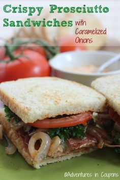 Crispy Prosciutto Sandwches with Caramelized Onion #recipe via Adventures in Coupons