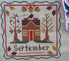 Little House Needleworks Monthly Sampler September Cross Stitch Ponto Cruz