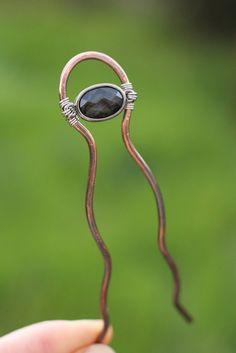 Copper hair fork hair stick hair pin wire green hair by Kapelika, $25.00