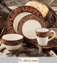 Tooled Leather Style Dinnerware from Montana Silversmiths at Lone Star Western Decor.  Perfect, and unfortunately, discontinued.