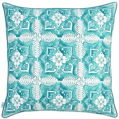 Elizabeth Scarlett Turquoise Tilework Cushion - 65x65cm ($94) ❤ liked on Polyvore featuring home, home decor, throw pillows, blue, inspirational home decor, turquoise home decor, turquoise home accessories, cotton throw pillows and inspirational throw pillows