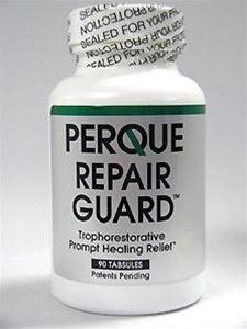 Perque - Repair Guard 90 tabs by Perque. $59.58. stimulating cell repair naturally. managing inflammation. Pure, hypoallergenic components. 100% vegetable, energized formula. TROPHORESTORATIVE INFLAMMATORY REPAIR - Antioxidants  Rich.  100% vegetable, energized formula  Unique Perque Features - Pure, hypoallergenic components Organic base Biochemically formulated Includes cofactors that are usable in generating high-energy compounds Vitamins, minerals, synergistic ...