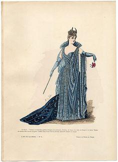 L'Art et la Mode 1890 N°08 Marie de Solar, hand colored fashion plate