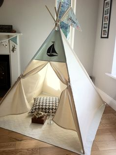 Teepee Tent with Sailboat design por MapleandSpudDesigns en Etsy