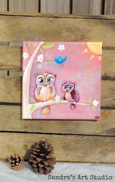 """New to SandraArtStudio on Etsy: Kids art """"LITTLE OWLS in a tree"""" - Acrylic painting on canvas 7 7/8 x 7 7/8 inch - For nursery and kids bedroom  (35.00 EUR)"""