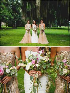 Glamorous gold and peach bridesmaid dresses #glam #bridesmaids #redcarpetworthy http://www.weddingchicks.com/2013/12/06/gold-glam-wedding/