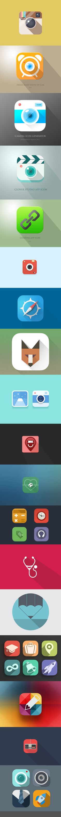 Found ~ Flat Mobile Icons Designs for Your Inspiration by Nancy Young thanks to Hongkiat. http://www.hongkiat.com/blog/flat-mobile-app-icon/ #FlatDesign #Illustration #Icons
