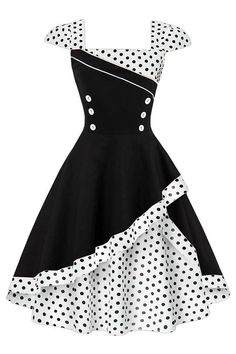 For the classic retro look, go for our Atomic Black and White Rockabilly Cocktail Dress. https://atomicjaneclothing.com/products/atomic-black-and-white-rockabilly-cocktail-dress