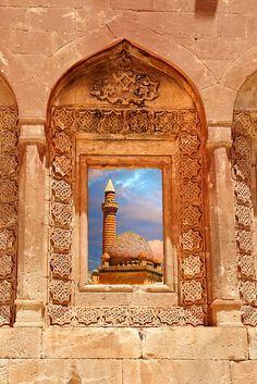Architectural details of the 18th Century Ottoman architecture of the Ishak Pasha Palace (Turkish: İshak Paşa Sarayı) , Ağrı province, Turkey