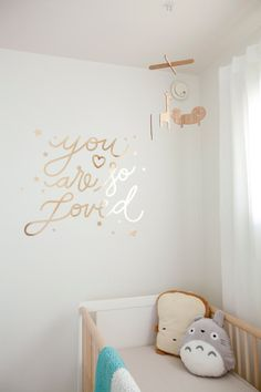 Gold Chrome You Are So Loved Decal handletter script stars nursery home decor wall art