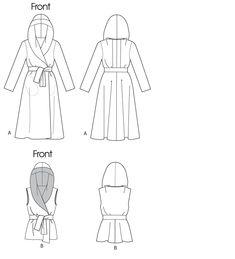 Peplum waist, wide shawl collar that doubles as a hood.  Could even make it a high-low hem.