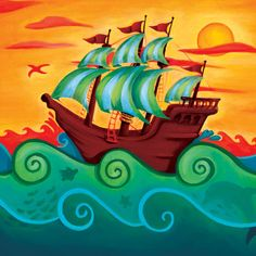 Pirate Ship Canvas Reproduction from PoshTots