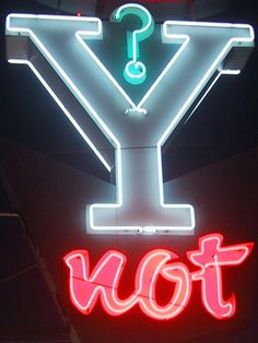 Y not - neon light. The Darkness, Neon Light Signs, Neon Signs, Neon Photography, Neon Words, All Of The Lights, Sign Lighting, Neon Glow, Old Signs