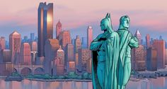 "Batman & Superman ""Liberty Statue"""