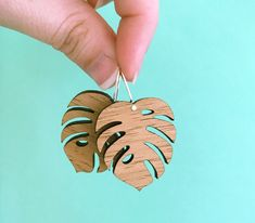 Monstera - Wood Earrings with Sterling Silver hooks - laser cut - plant