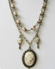 Charm necklace, two layers, by romanticcrafts, $21.00