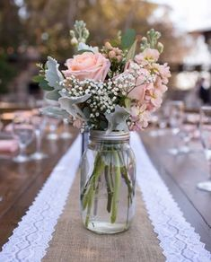 Centerpieces of roses, stock, hypericum, dusty miller, babies breath and eucalyp. Centerpieces of Vintage Centerpieces, Rose Centerpieces, Wedding Table Centerpieces, Wedding Decorations, Table Wedding, Wedding Ideas, Trendy Wedding, Centerpiece Ideas, Vintage Table Decorations