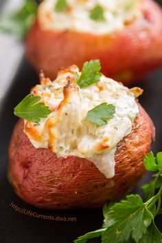 I served these Crab Stuffed Baked Potatoes for Christmas Eve dinner this year. They were fabulous! Rich creamy crab filling inside earthy baked potatoes. They were a huge hit, and I really liked that they were just a small amount of rich fancy food at a pretty healthy meal.