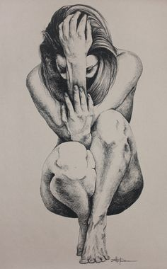 """EVE PARADISE LOST"" aka Crouching Woman    Original Art, Nude Art Female – Charcoal – Graphite drawing ""EVE PARADISE LOST"" aka Crouching Woman by Marcy Ann Villafaña  ""EVE PARADISE LOST"" 30″ x 48″  charcoal  2014  Sold to private collector. only available in print.  www.VillafanaArt.com"