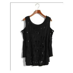 Buy Sweet Style Hollow Shoulder Half Sleeve Knit Blouse Black with... via Polyvore