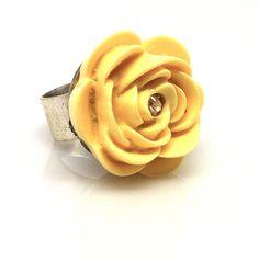 Ring Rose Yellow Resin Adjustable