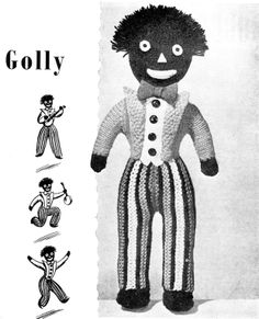Free toy knitting patterns to download-golliwog Gollies Pinterest Knitt...